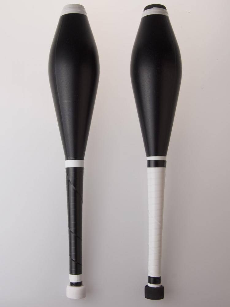 black and white juggling clubs